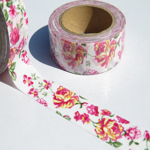 pink yellow and green floral flowers washi paper tape