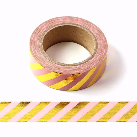 pink gold foil stripes washi tape