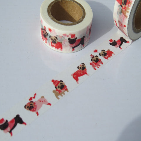 pugs decorative gift wrapping washi paper tape