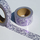 purple rose petal foil washi deco tape
