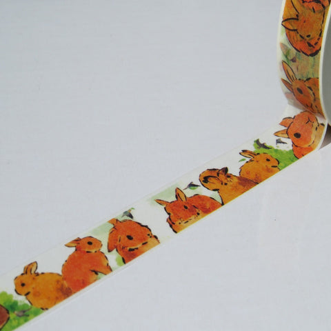 yellow rabbit washi masking decorative tape