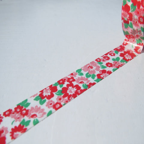red green floral flowers washi paper decorative tape