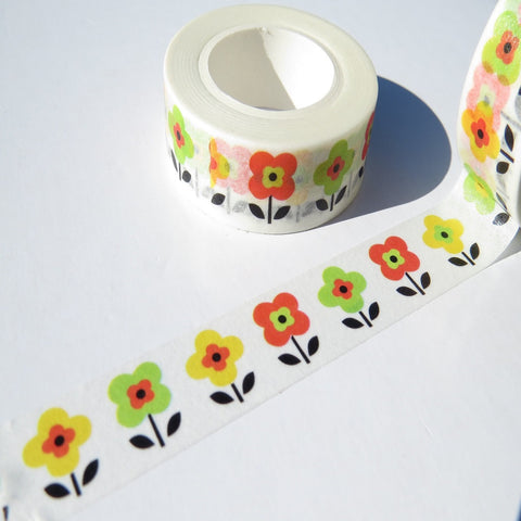 yellow red green retro floral flowers washi paper tape