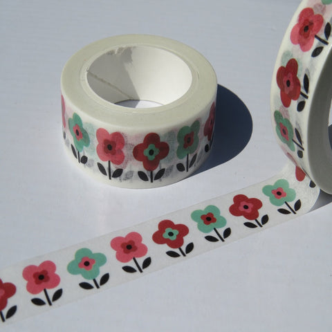 retro red and green flowers washi masking tape