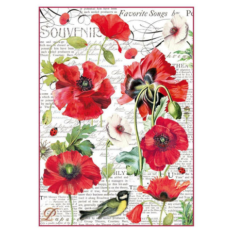 stamperia poppies rice paper