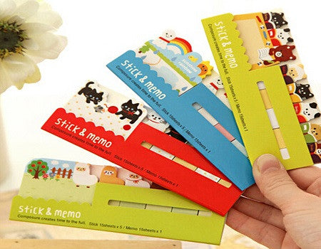 set of 4 animal sticky memo notes