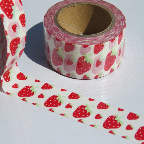 strawberries and strawberry washi masking craft tape