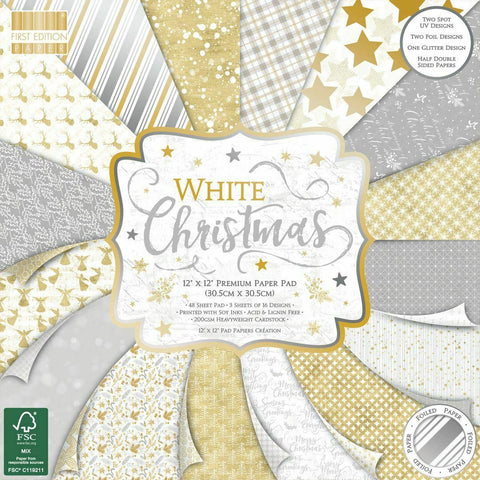 first edition 12x12 white christmas paper pad.