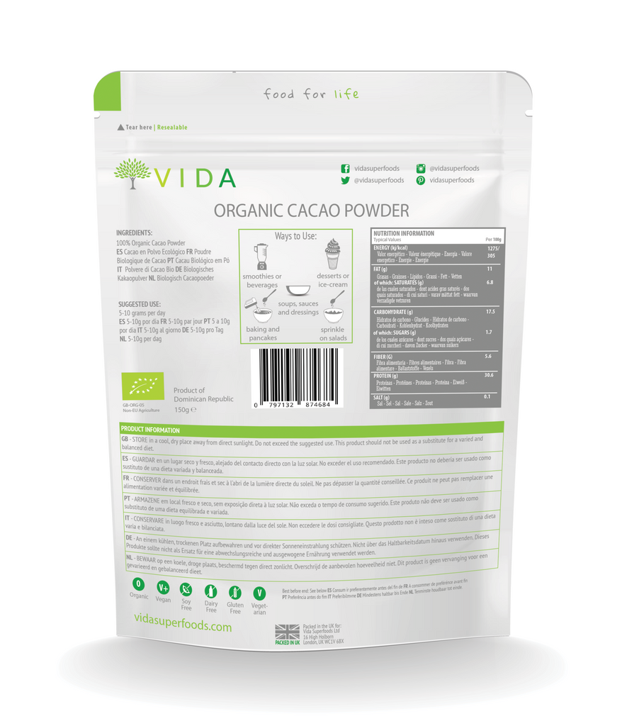 Organic Cacao Powder Rear Packaging - vidasuperfoods.com