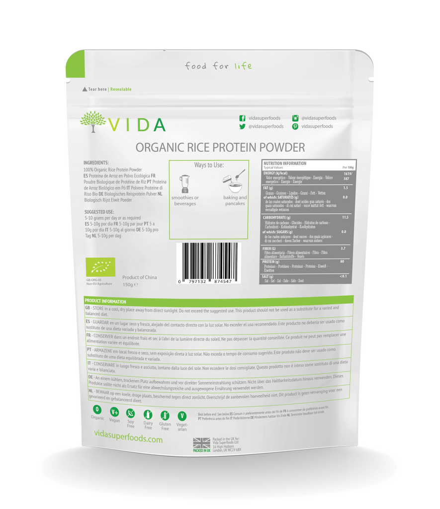 Organic Brown Rice Protein Powder Rear Packaging - vidasuperfoods.com