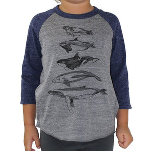Salish Sea Mammals - Kids triblend Baseball Tee (Grey/Navy) Shirt Kate