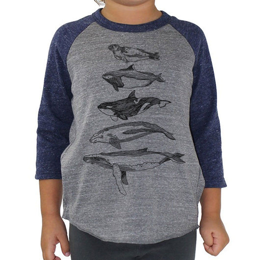Salish Sea Mammals - Kids Baseball Tee