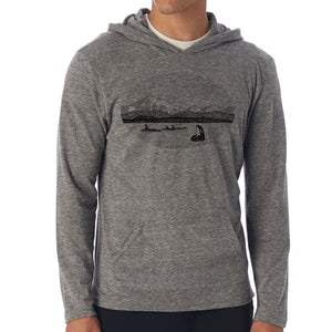 Mt. Baker - Unisex eco triblend lightweight hoodie (Grey) Sweatshirt Printshop Northwest