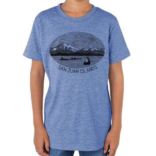 Mt. Baker - Kids triblend t-shirt (L.blue) Shirt Printshop Northwest