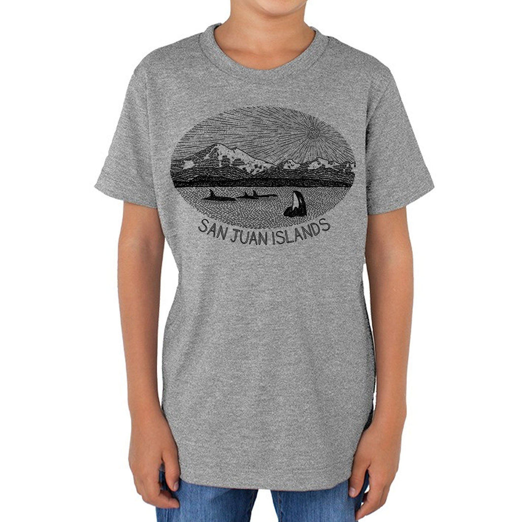 Mt. Baker - Youth Triblend Track T-Shirt (Grey) Kids Printshop Northwest