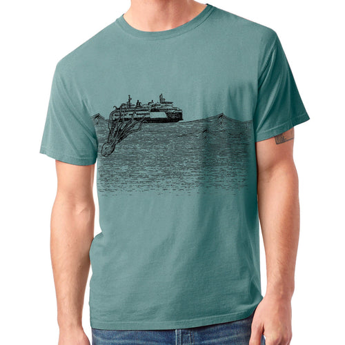 Kraken - Mens 100% Cotton Garment Dyed (Cypress) Shirt Printshop Northwest