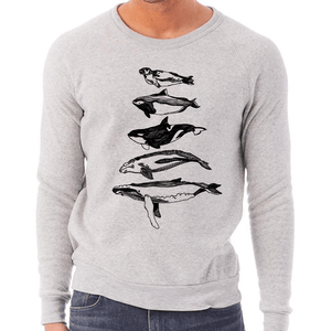 Salish Sea Mammals - Unisex Eco-Triblend Crew Sweatshirt (Light Grey) Sweatshirt Andrew