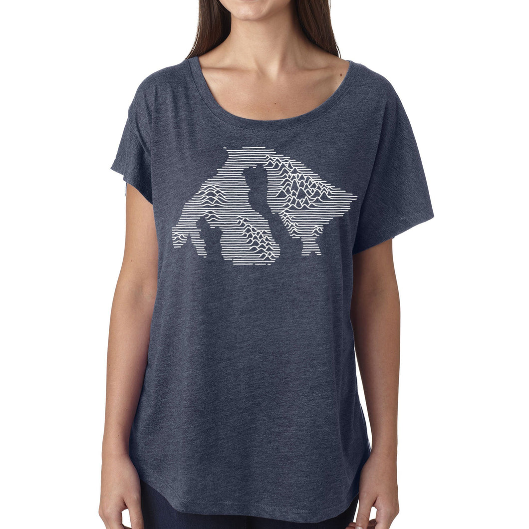 Orcas Mountains - Womens triblend dolman (Indigo) Shirt Printshop Northwest