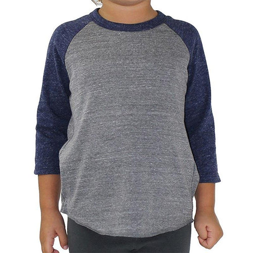 Custom printed - Kids triblend baseball tee (Grey/Navy) Shirt Alternative