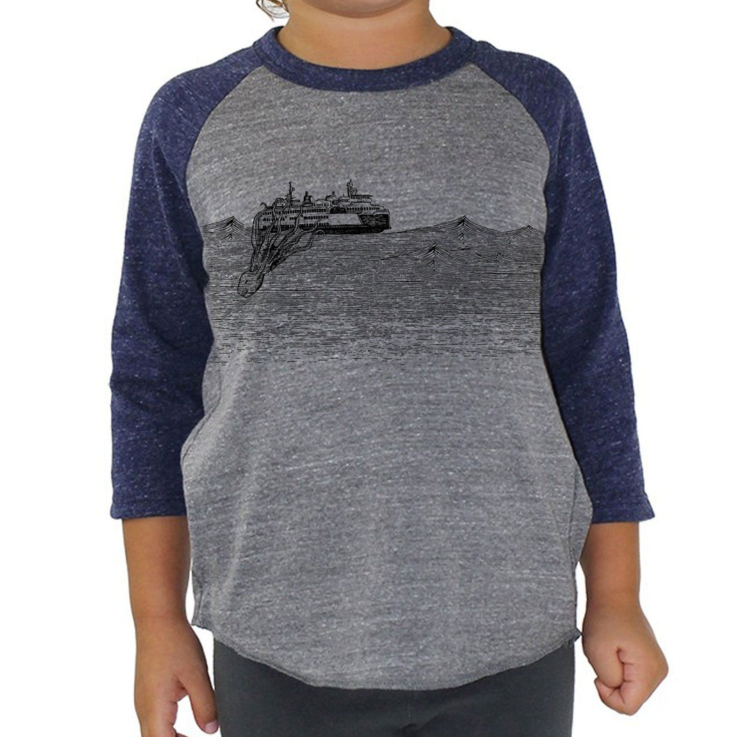 Kraken - Kids triblend baseball tee (Grey/Navy) Shirt Printshop Northwest