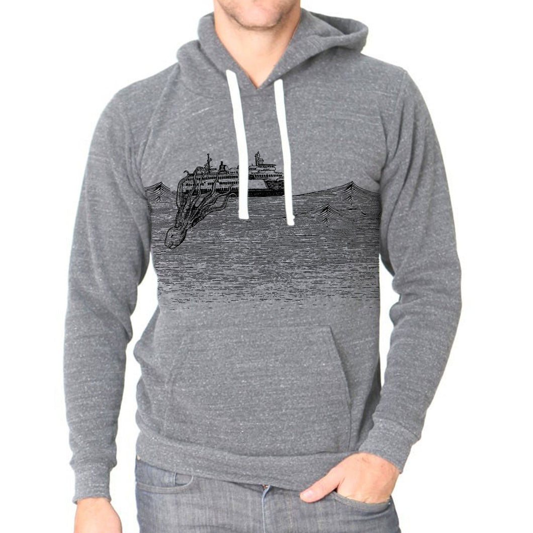Kraken - Unisex triblend fleece hoodie (Vintage grey) Sweatshirt Printshop Northwest