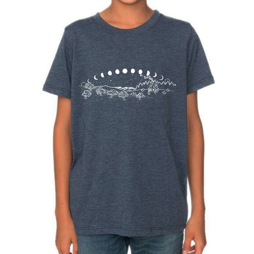 Moons - Kids eco 50/50 t-shirt (Blue dusk) Shirt Anika Sanders