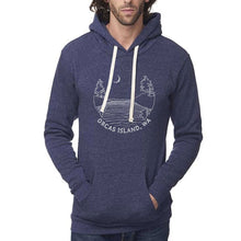 Load image into Gallery viewer, Islands at night - Unisex triblend hoodie (Denim Navy) Sweatshirt Andrew