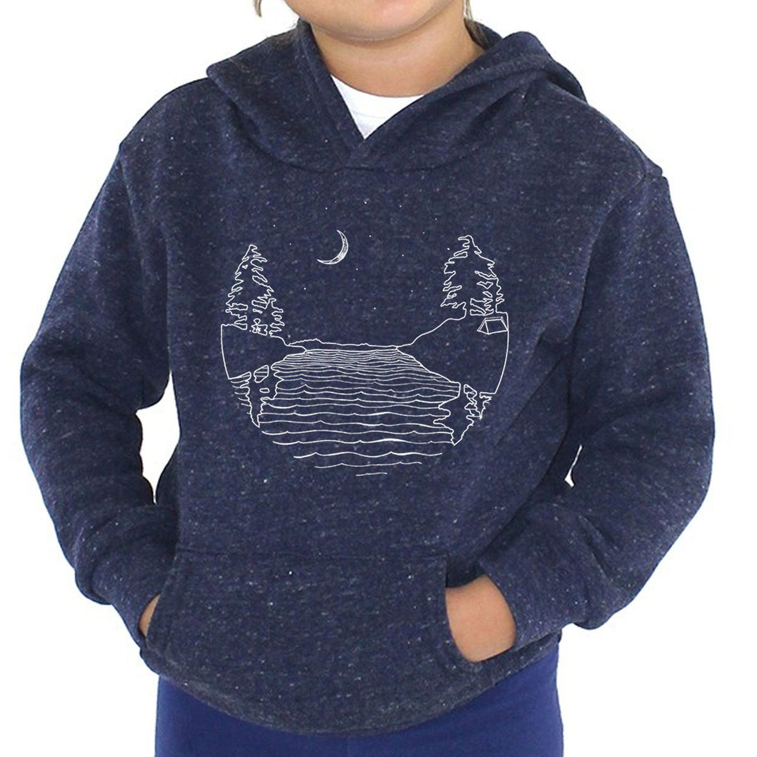 Islands at Night - Kids triblend fleece hoodie (Navy) Sweatshirt Printshop Northwest
