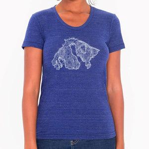 Orcas Island Map - Womens triblend t-shirt (Indigo) Shirt Printshop Northwest