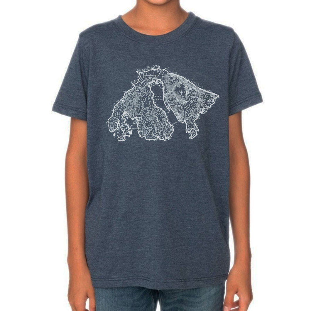 Orcas Island Map - Kids Heather Blue Dusk Shirt Shirt Printshop Northwest