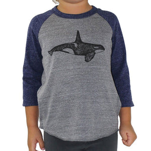Orca - Kids triblend Baseball Tee (Grey/Navy) Shirt Printshop Northwest