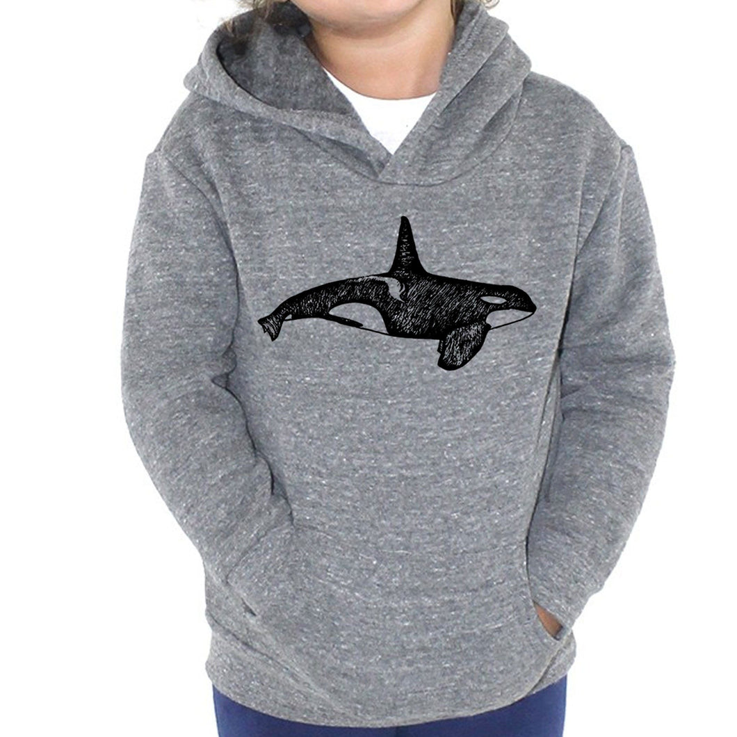 Orca - Kids Triblend Fleece Hoodie (Vintage grey) Sweatshirt Printshop Northwest