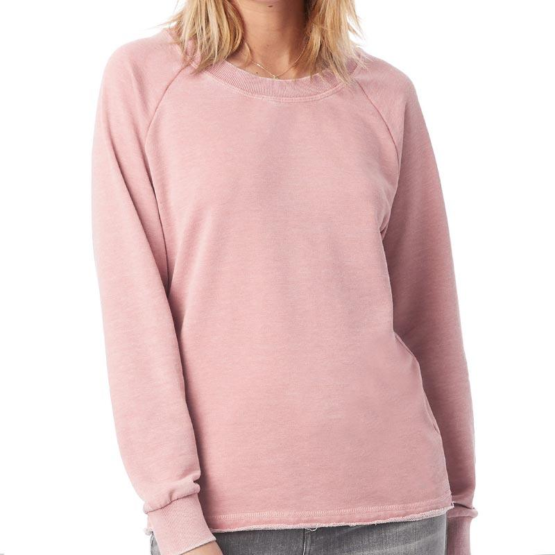 Custom printed - Womens burnout crewneck sweatshirt (Rose) Sweatshirt Alternative