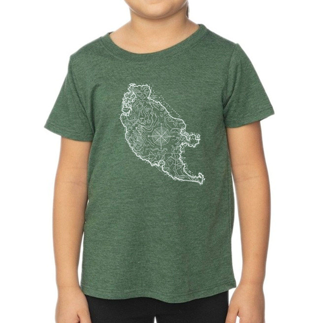 San Juan Island Map - Kids Heather Pine Shirt Shirt Printshop Northwest
