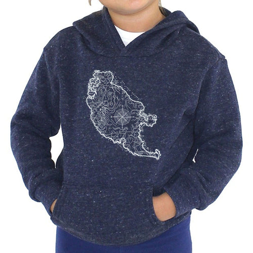 San Juan Island Map - Kids triblend fleece hoodie (Navy) Sweatshirt Printshop Northwest