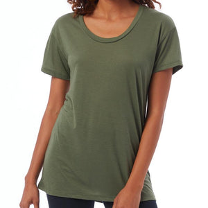 Custom printed - Womens slinky 50/50 t-shirt (Army Green) Sweatshirt Alternative