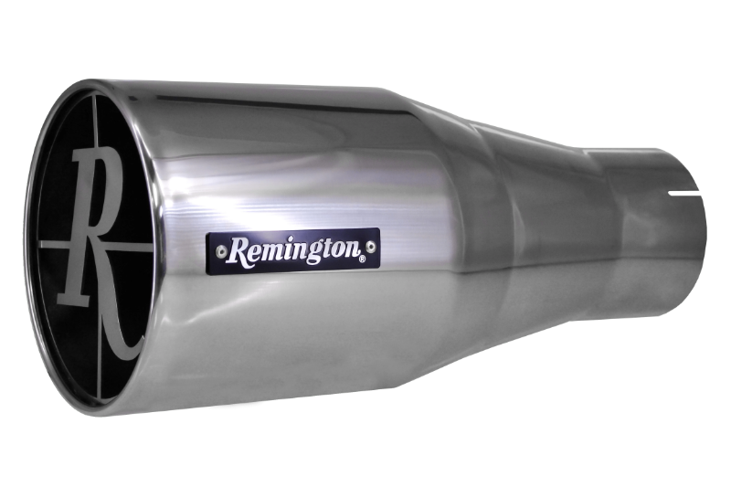"Remington Off-Road Exhaust Tips 4.0 Inch Inlet / 8.0 Inch Tip / Polished Stainless Remington Off-Road Edition ""Scope"" Exhaust Tips"