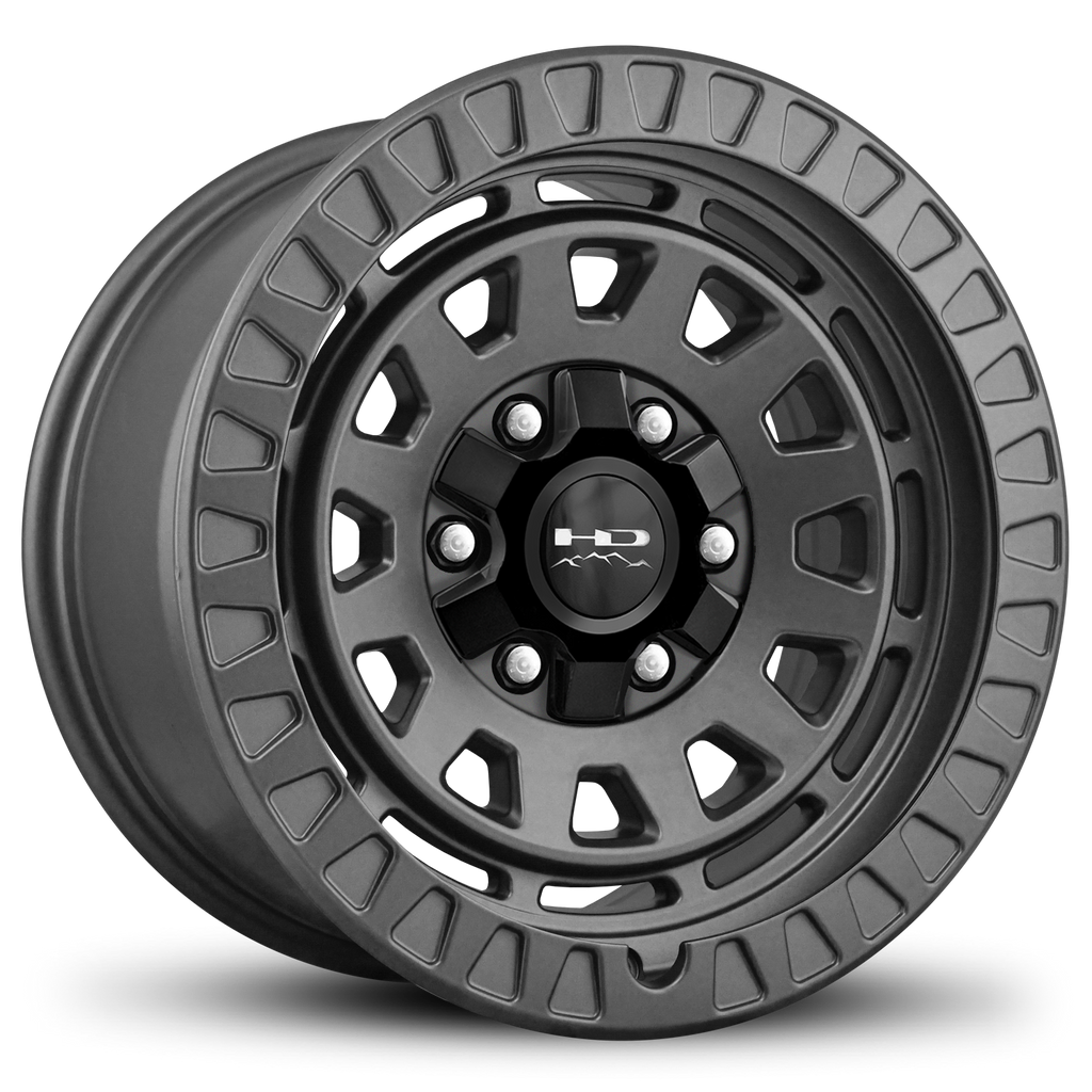 HD Off-Road Venture 17x9.0 & 20x9.0 Overland Adventure style Truck, Jeep, & SUV rims in All Satin Grey Gunmetal 6x135 & 6x139.7