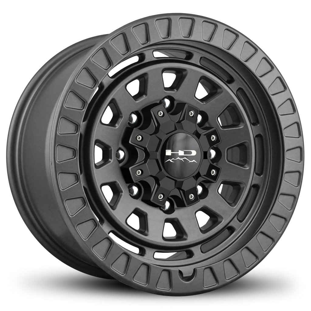 HD Off-Road Venture 17x9.0 & 20x9.0 Overland Adventure style Truck, Jeep, & SUV rims in All Satin Grey Gunmetal 8x165, 8x170, & 8x180