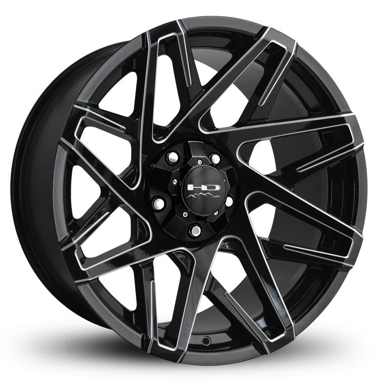HD Off-Road Wheels Truck & SUV Wheels 20x10.0 | 5x127/5x139.7 | 4.53 in | 78.1mm HD Off-Road Canyon Wheels | Gloss Black w Milled Spoke Edges