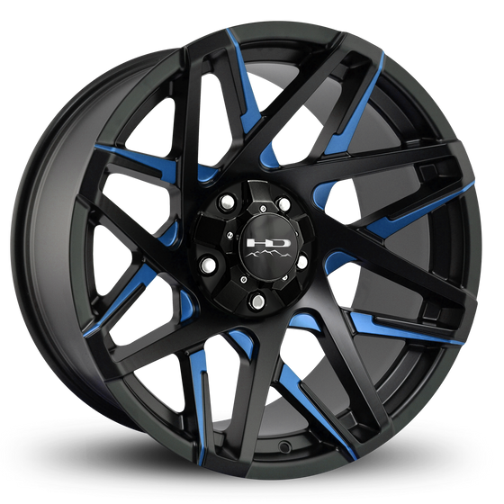 Blue Truck Wheel Rims - HD Off-Road Wheels Truck & SUV Wheels 20x10.0 | 5x127/5x139.7 | et-25mm | 4.53 in | 78.1mm HD Off-Road Canyon Wheels | Satin Black Blue Milled