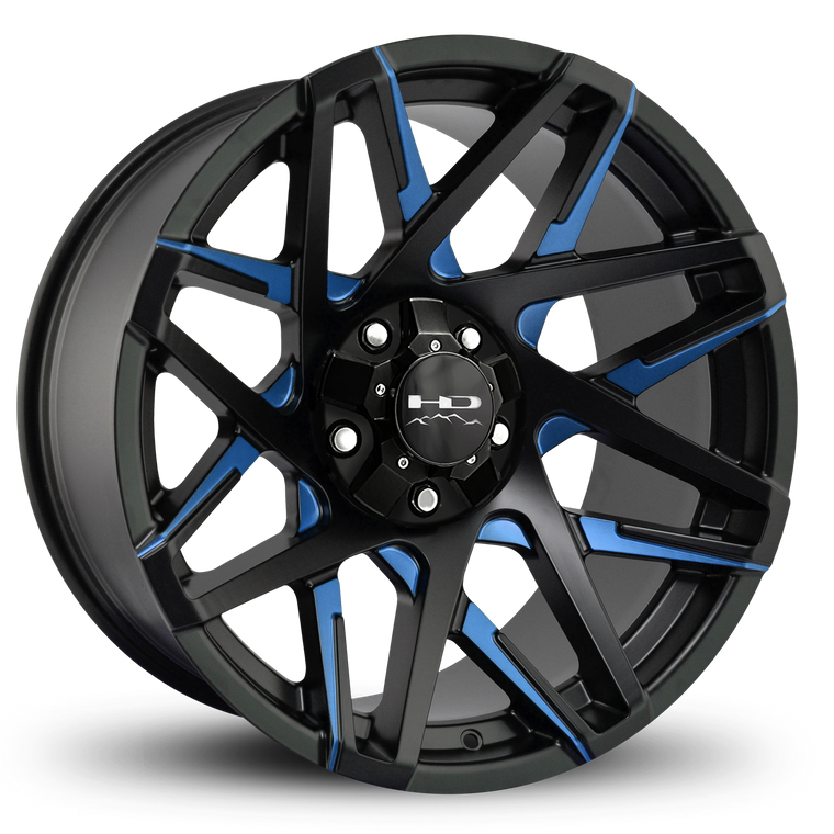 HD Off-Road Wheels Truck & SUV Wheels 20x10.0 | 5x127/5x139.7 | et-25mm | 4.53 in | 78.1mm HD Off-Road Canyon Wheels | Satin Black Blue Milled