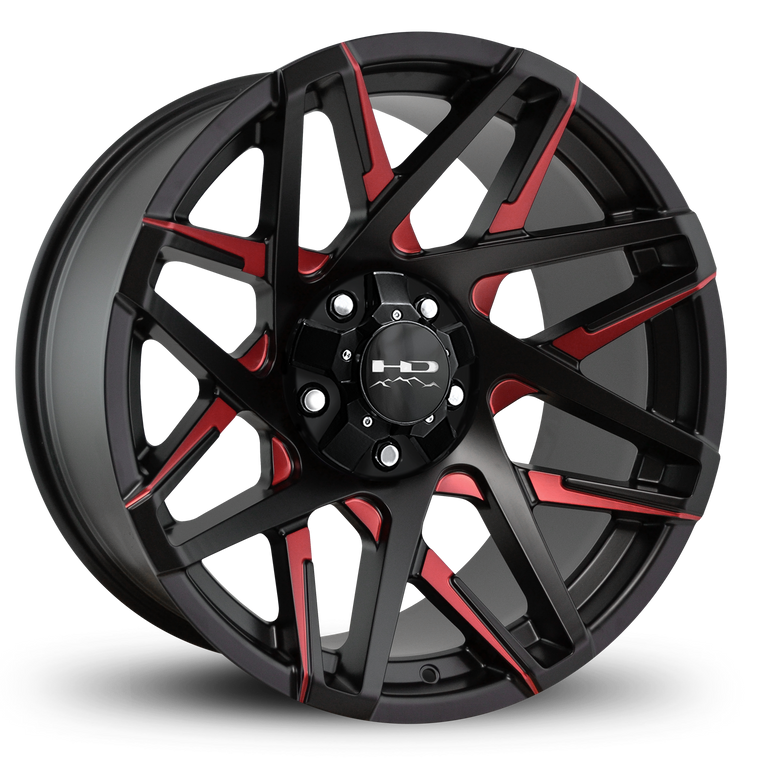 HD Off-Road Wheels Truck & SUV Wheels 20x10.0 | 5x127/5x139.7 | et-25mm | 4.53 in | 78.1mm HD Off-Road Canyon Wheels | Satin Black Red Milled