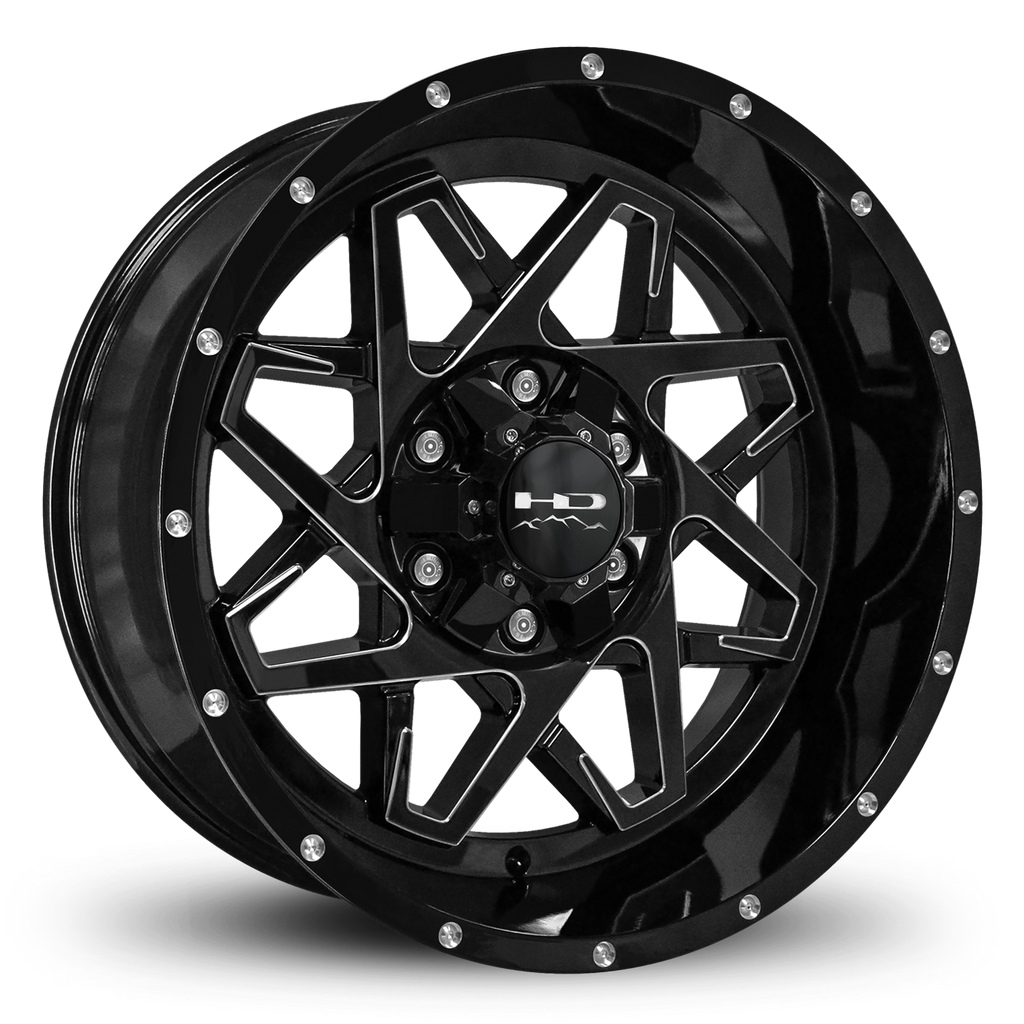 HD Off-Road Wheels Truck & SUV Wheels 20x10.0 | 6x135/6x139.7 | et -25mm | 4.5 in | 106.2mm HD Off-Road Caliber Wheels | Gloss Black w Milled Spoke Edge