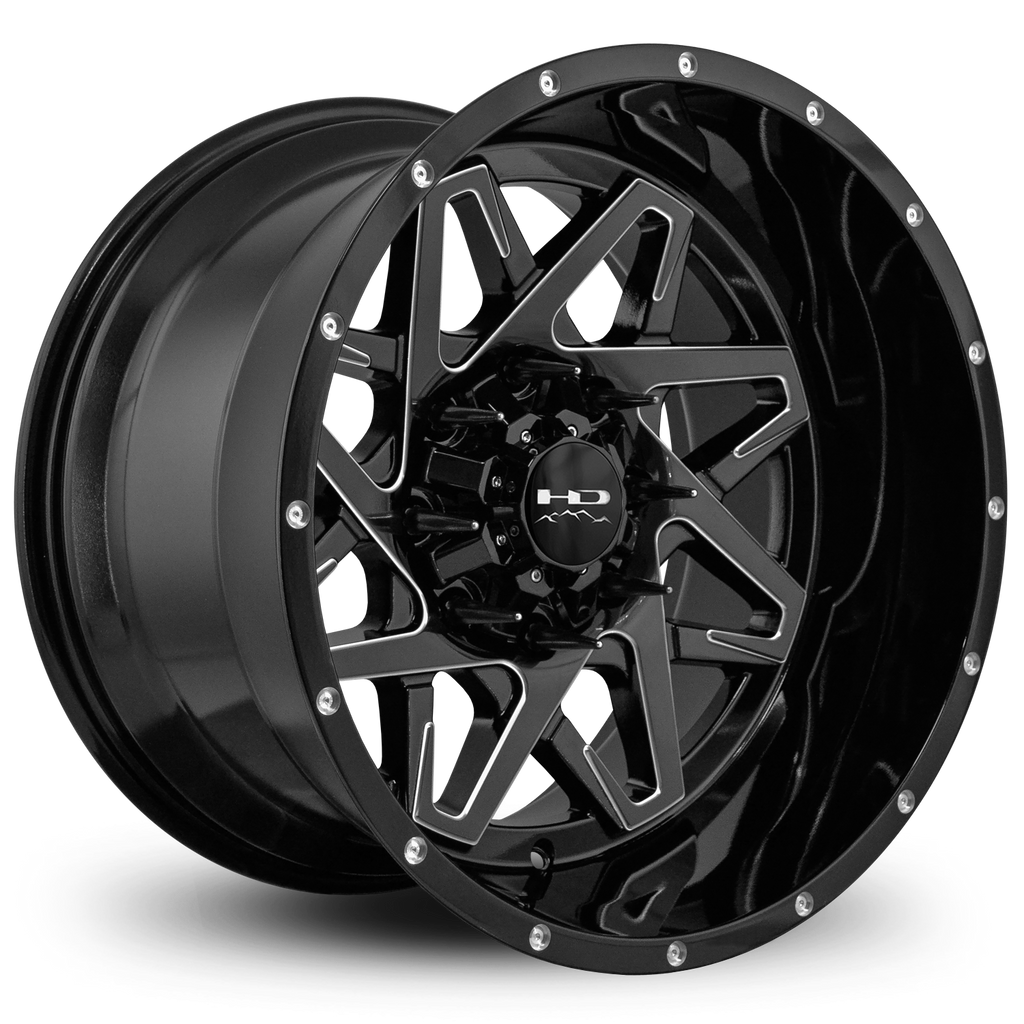 HD Off-Road Wheels Truck & SUV Wheels 20x12.0 | 8x170 | et -50mm | 4.57 in | 125.1mm HD Off-Road Caliber Wheels | Gloss Black w Milled Spoke Edge