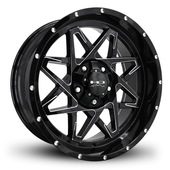 HD Off-Road Wheels Truck & SUV Wheels 20x9.0 | 5x127/5x139.7 | et 0mm | 5.0 in | 78.1mm HD Off-Road Caliber Wheels | Gloss Black w Milled Spoke Edge