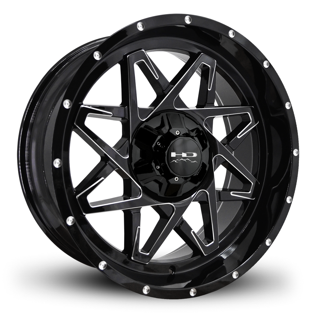 HD Off-Road Wheels Truck & SUV Wheels 20x9.0 | 6x120/6x139.7 | et -10mm | 4.6 in | 78.1mm HD Off-Road Caliber Wheels | Gloss Black w Milled Spoke Edge