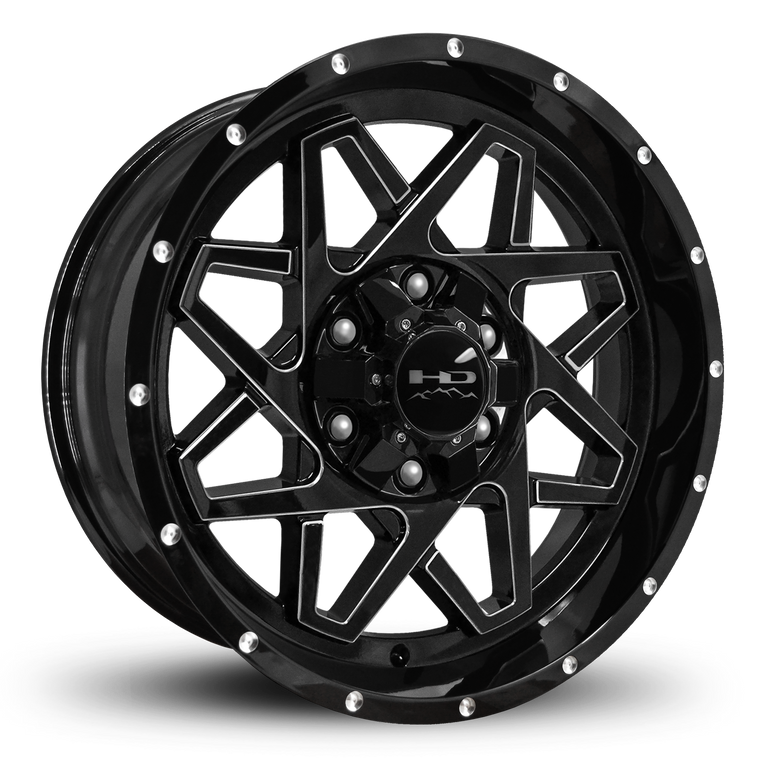 HD Off-Road Wheels Truck & SUV Wheels 20x9.0 | 6x135/6x139.7 | -10mm | 5.1 in | 106.2mm HD Off-Road Gridlock Wheels | Gloss Black Milled Face