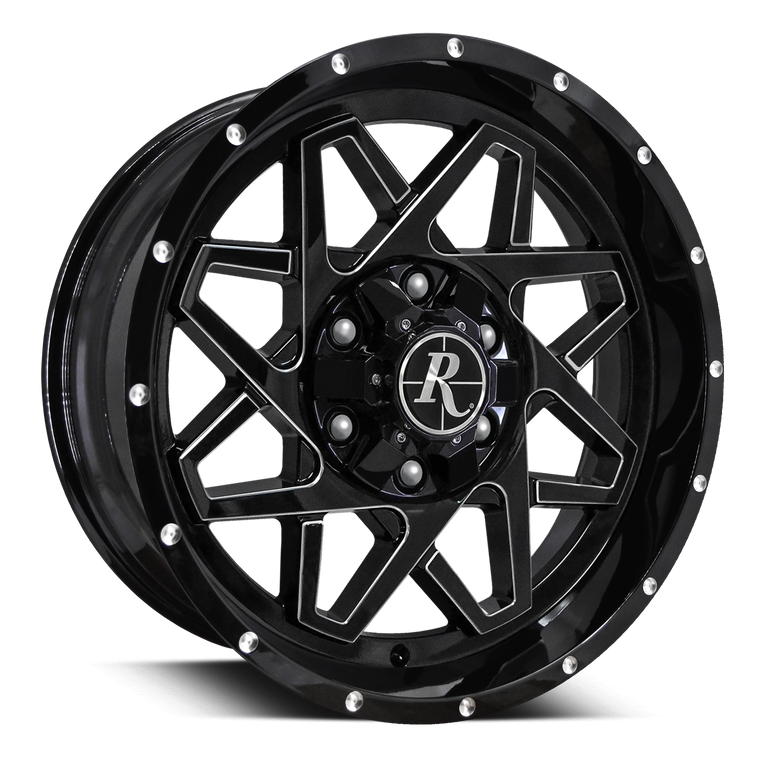 HD Off-Road Wheels Truck & SUV Wheels 20x9.0 | 6x135/6x139.7 | -10mm | 5.1 in | 106.2mm Remington® Off-Road Gridlock Wheels | Gloss Black Milled Face