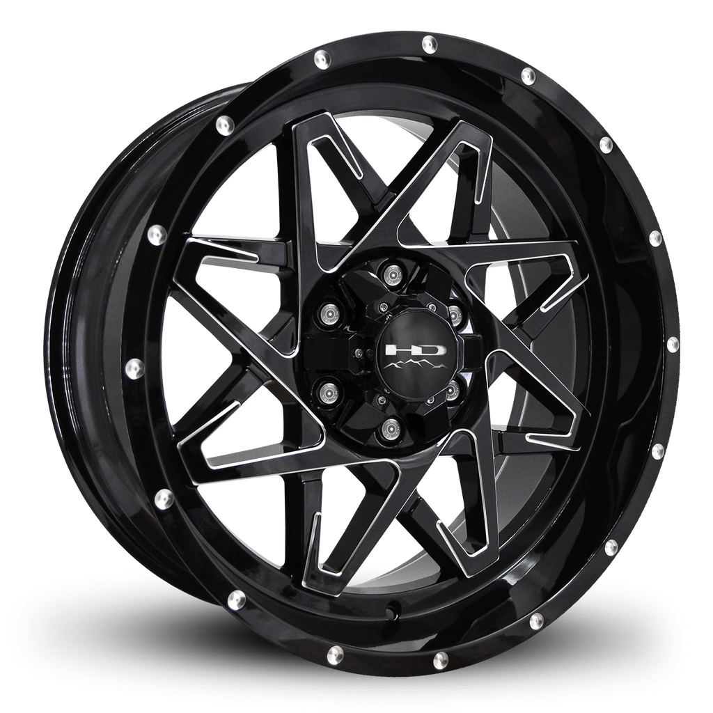 HD Off-Road Wheels Truck & SUV Wheels 20x9.0 | 6x135/6x139.7 | et -10mm | 4.6 in | 106.2mm HD Off-Road Caliber Wheels | Gloss Black w Milled Spoke Edge